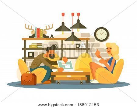 Coworking office work. Man and woman working in a comfortable chair. Vector illustration