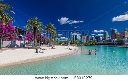 BRISBANE, AUS - NOV 18 2015: Streets Beach in South Bank Parkland. It's inner-city man-made beach next to city center.