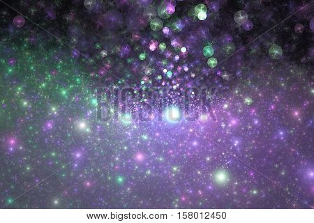 Supernova Explosion. Abstract Colorful Purple And Green Drops On Dark Background. Fantasy Fractal Te