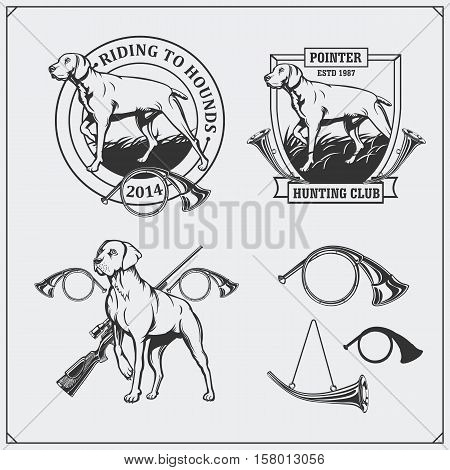 Set of Hunting Club labels. Pointer dog emblems, labels and design elements.