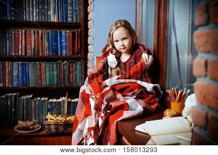 Cute little girl sits by the window, wrapped in a warm blanket and hugging her stuffed toys. Bookshelves background. Home. Education.
