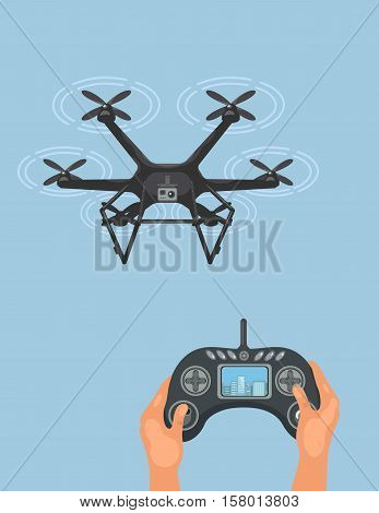 drone in blue sky managed by remote control, vector