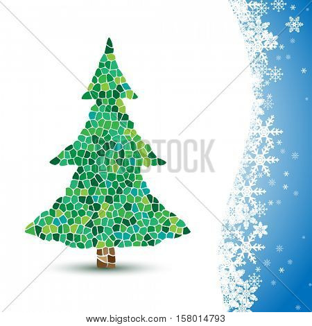 Illustration Christmas tree on winter background. Mosaic.