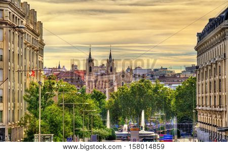 View towards San Jeronimo el Real Church in Madrid - Spain