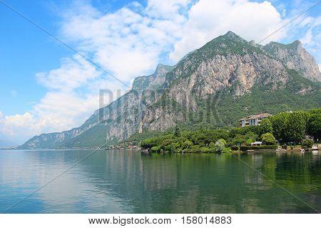 Lecco town on the lake Como, Italy