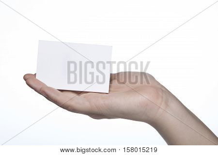 Business Card Given On Hands, Copy Space And Text