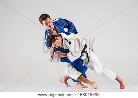 The two judokas fighters fighting men on gray studio background