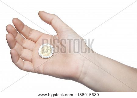 Two Euros On A Hand, White Background