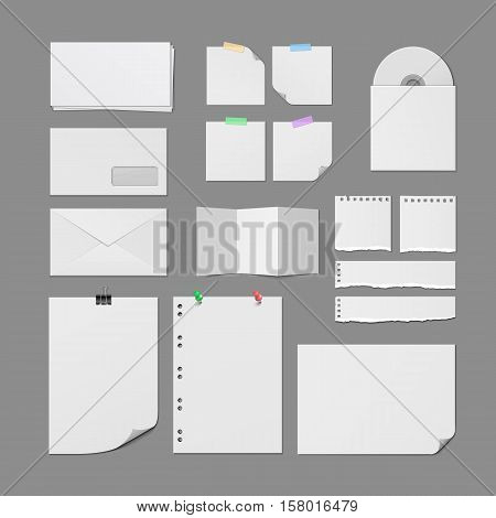Office paper supplies. Postal paper envelopes, torn notebook pages, white paper sheets with pins and clips, notes on sticky tape, paper CD cover blank template isolated vector. Vector office paper and paper sheets.