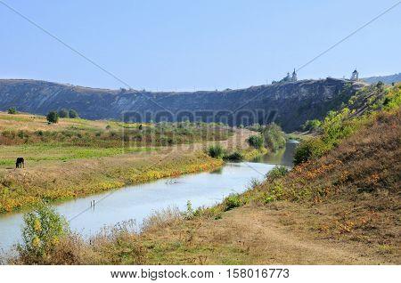 View of old Orhei famous historical place Moldova. Landscape in Old Orhei region Moldova