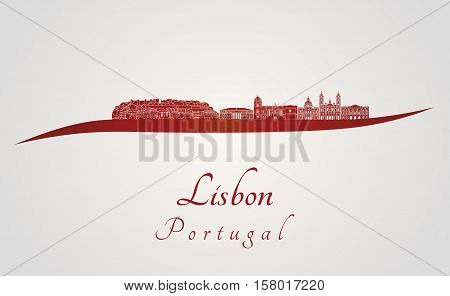 Lisbon V2 Skyline In Red