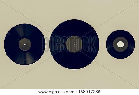 Vintage Looking Size Comparison Of Recording Media