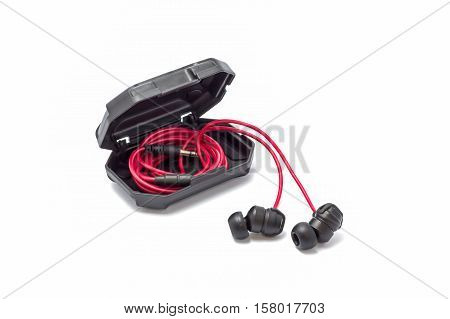Head phone in a black strong case