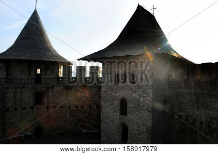 Architectural details of medieval fort in Soroca Republic of Moldova. Fort built in 1499 by Moldavian Prince Stephen the Great. Has been renovated in 2015