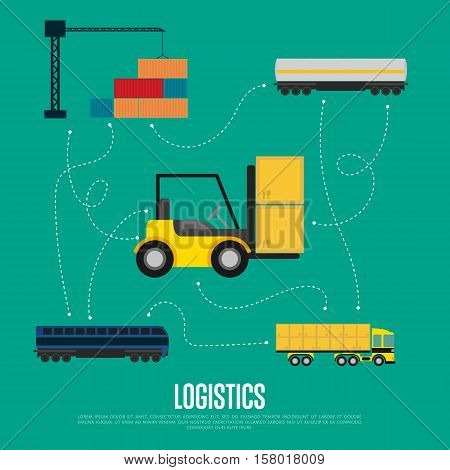 Global logistics and transportation banner vector illustration. Container truck, freight crane, cargo train and forklift truck in flat design. World import and export transportation business concept