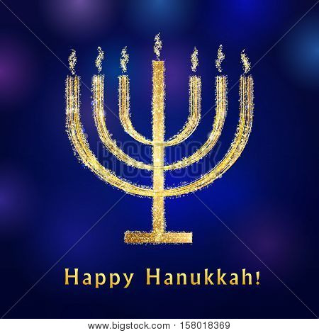 Happy Hanukkah vintage greeting card. Lighting golden menorah sign on the blue background. Israel seven fire candle vector icon.