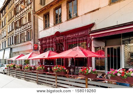STRASBOURG FRANCE - JUL 4 2016: Chez Marco's Bar Cintra in central Strasbourg waiting for customers on a bright sunny day for best cocktails and alcohol or sweet beverages inside or on the best terrace