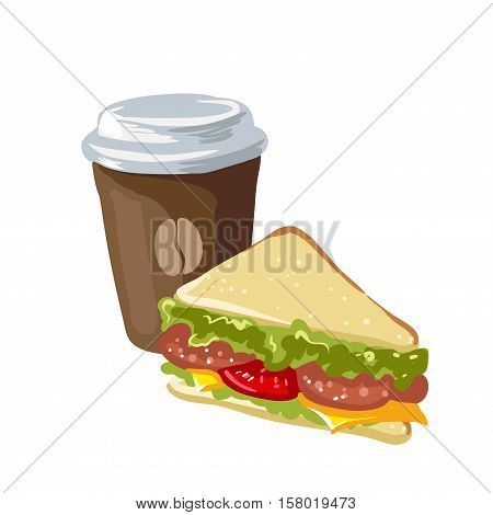 Sandwich and cup of coffee. Fast food for breakfast, snack with bread and sausage, vegetables, lettuce and cheese. Icon in flat style. Vector illustration of isolated on white background.