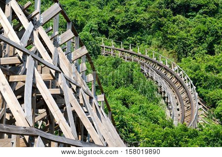 a Wooden Roller Coaster in the Chines Mountains