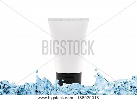 Cream with moisturising effect in white bottle with copy space in water splash isolated on white