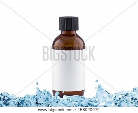 Brown cosmetic bottle with blank label in water splash moisturiser concept isolated on white