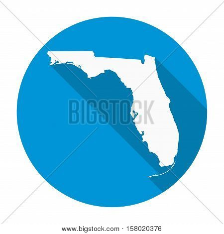 Florida state map flat icon with long shadow EPS 10 vector illustration.