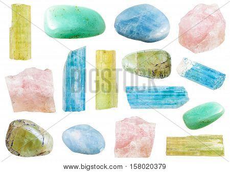 Various Beryl Mineral Crystals And Gemstones