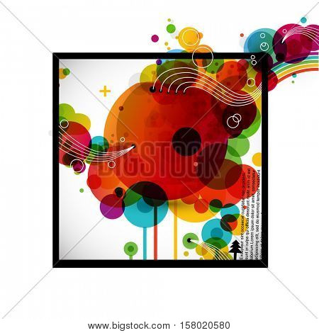 Color circles in square frame with space for text. Funky graphic design - abstract vector background.