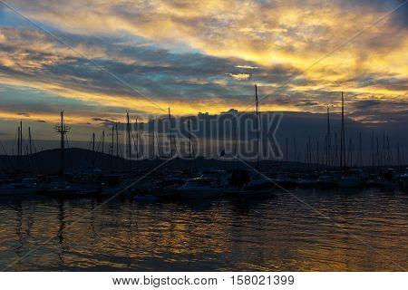 Magnificent autumn sunrise , Sozopol town, Bulgaria