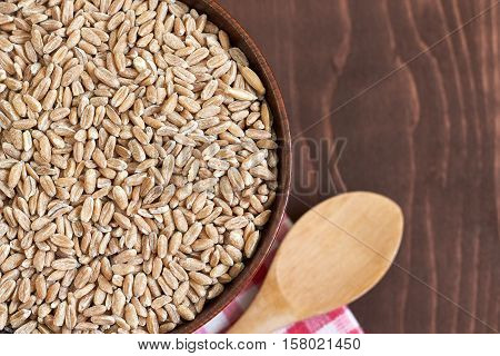 Spelt grain (dinkel wheat) in wooden bowl. Top view with copy space
