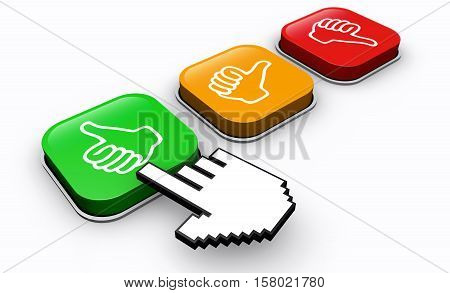 Happy customer click positive feedback button business and marketing concept 3d illustration.