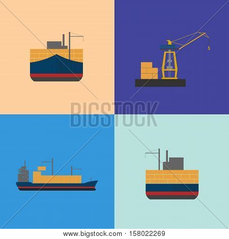Maritime freight shipping icon set isolated vector illustration. Freight crane loading cargo vessel. Industrial freight harbor, container terminal, worldwide logistics and delivery shipping concept