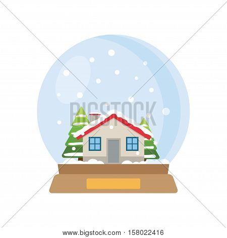 Vector illustration. Christmas snow globe with house and trees inside. Flat vector illustration.