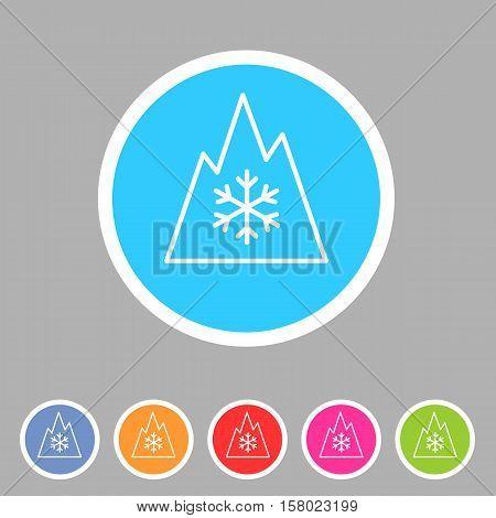 Snow tire Mountain Snowflake Mud Snow symbol icon flat web sign symbol logo label