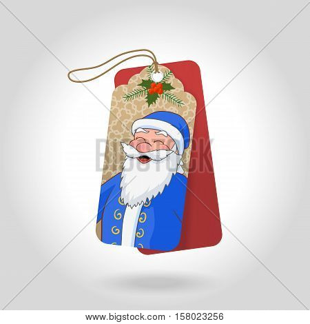 Cute Christmas gift tags with funny squinted Ded Moroz in a blue coat and decoration snowflakes, christmas holly berry. Vector illustration