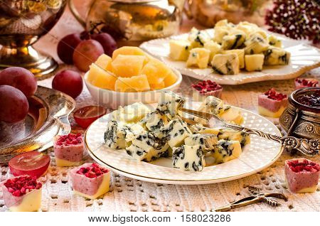 Roquefort Cheese On A Plate. A Beautiful Table Setting.