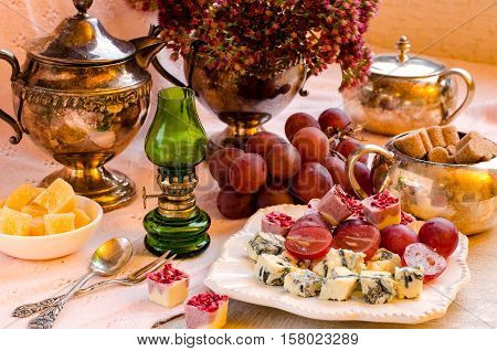 Beautiful Table Setting Snacks On The Table