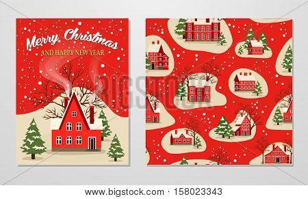 Marry Christmas and Happy New Year greeting set vector illustration. Xmas card with red brick christmas house, snow covered landscape. Christmas seamless pattern with fairy tale houses, snowy village.