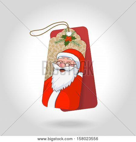 Cute christmas gift tags with funny squinted Santa Claus and decoration snowflakes, christmas holly berry. Vector illustration