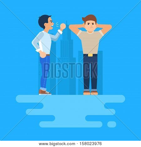 Vector illustration of two men arguing. The stubborn man covers his ears. He does not want to listen to. Angry man shakes his fists. He with his hackles up. Isolated modern clip art.