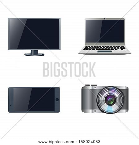 Set of devices. TV, laptop, smartphone, digital camera realistic drawings Stock vector