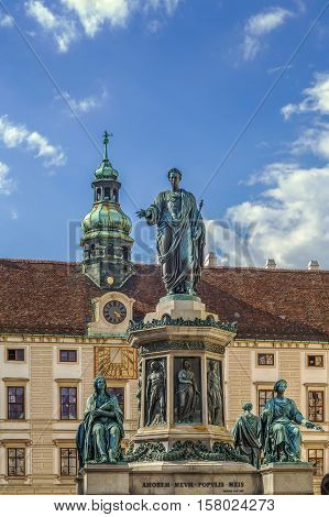 Monument To Emperor Franz 1 in front of Amalienburg in Hofburg Palace Vienna Austria