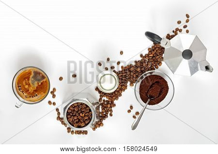 Coffee Beans And Ground, Milk In A Bottle, Moka Pot