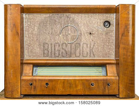 front view brown wood vintage damaged radio isolated