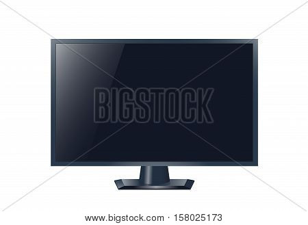 Realistic tv drawing. Vector stock illustration. Shiny screen, black