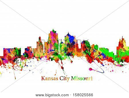Watercolor art print of the Skyline of Kansas City