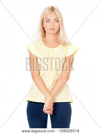 Casual style woman portrait, isolated on white background