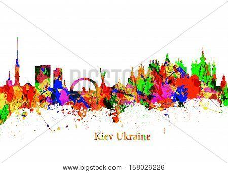 Watercolor art print of the Skyline of Kiev Ukraine