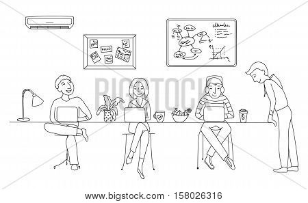 People working in an office, coworking space vector illustration, flat thin line style