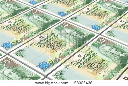 Scotland pound bills stacks background. 3D illustration